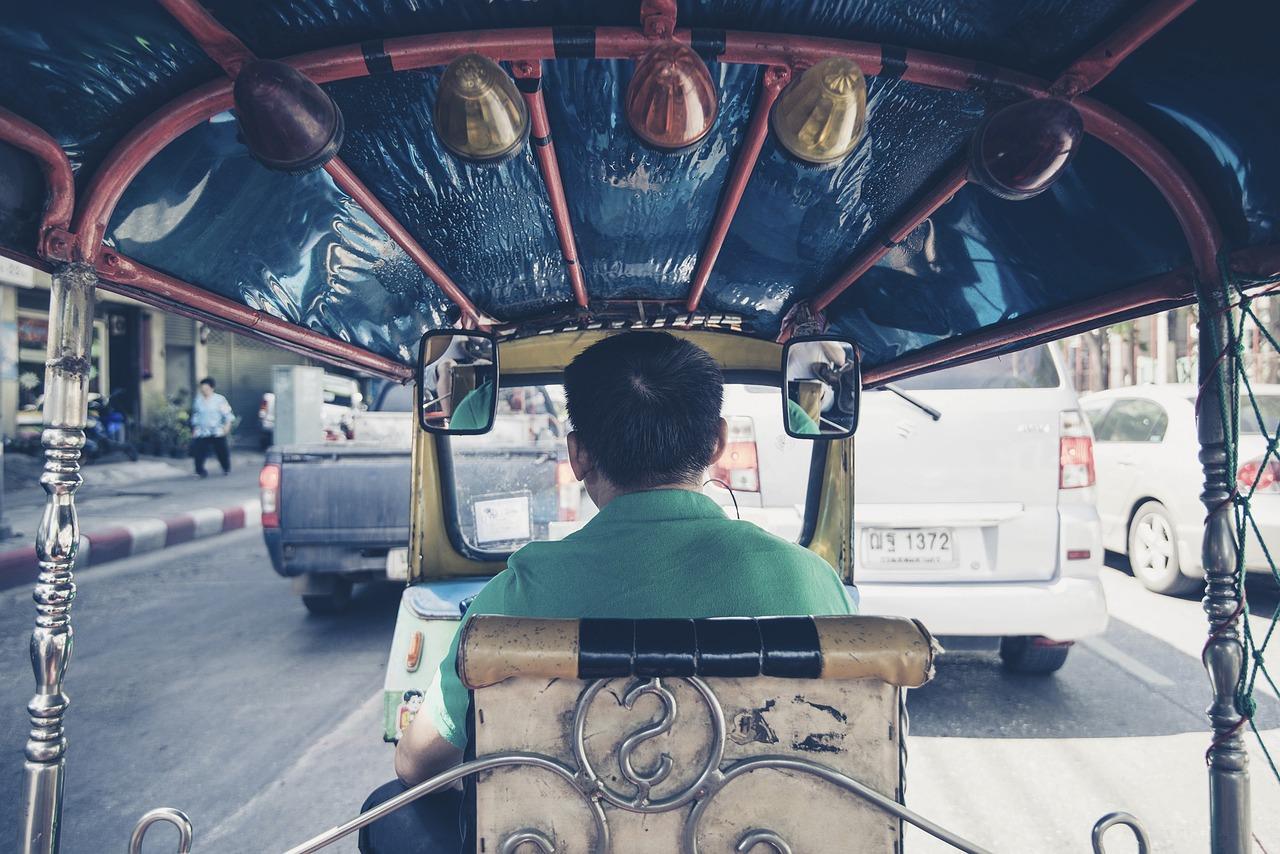 Riding tuk tuks in Thailand